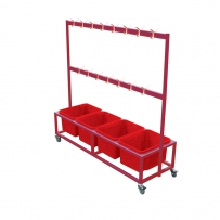 Bag and shoe Trolley recoloured red
