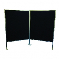 Hinged divider display board double sided